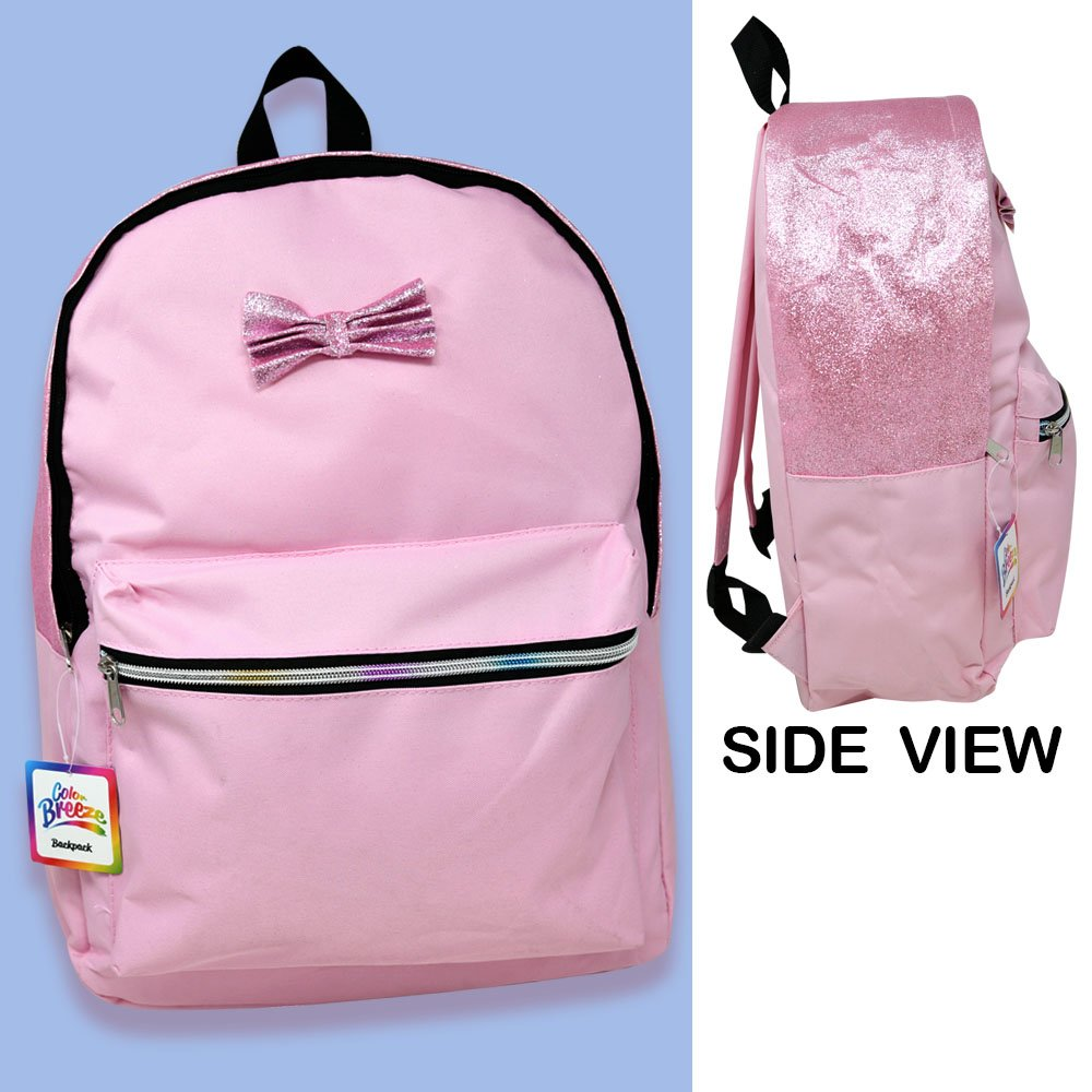"""16"""" Pink Bow Backpack - (12 count)"""